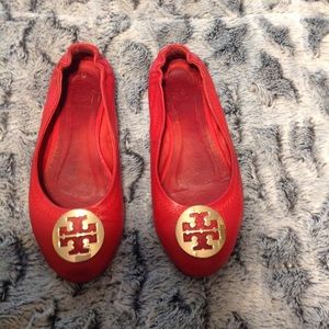 Tory Burch Leather Flats Red 8